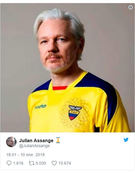 Publicación de Twitter por @JulianAssange: