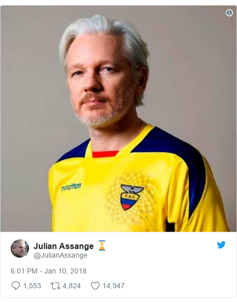 Twitter post by @JulianAssange: