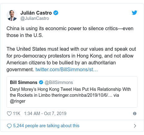 Twitter post by @JulianCastro: China is using its economic power to silence critics—even those in the U.S.The United States must lead with our values and speak out for pro-democracy protestors in Hong Kong, and not allow American citizens to be bullied by an authoritarian government.