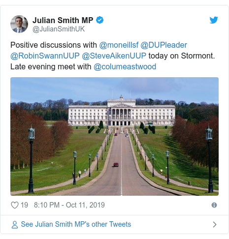 Twitter post by @JulianSmithUK: Positive discussions with @moneillsf @DUPleader @RobinSwannUUP @SteveAikenUUP today on Stormont. Late evening meet with @columeastwood