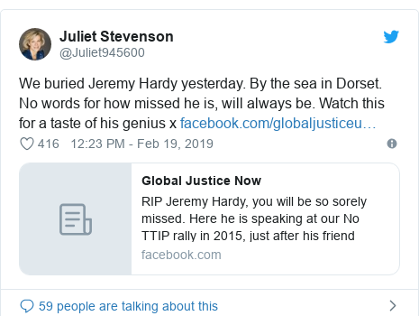 Twitter post by @Juliet945600: We buried Jeremy Hardy yesterday. By the sea in Dorset. No words for how missed he is, will always be. Watch this for a taste of his genius x
