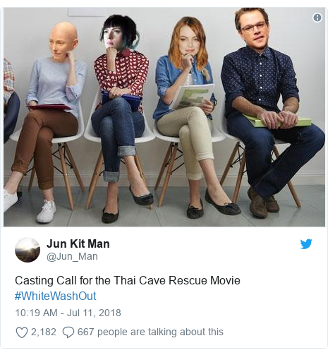Twitter post by @Jun_Man: Casting Call for the Thai Cave Rescue Movie #WhiteWashOut