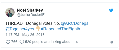 Twitter post by @JuniorDoctorIE: THREAD - Donegal votes No. @ARCDonegal @Together4yes 👇🏼#RepealedTheEighth
