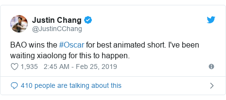 Twitter post by @JustinCChang: BAO wins the #Oscar for best animated short. I've been waiting xiaolong for this to happen.