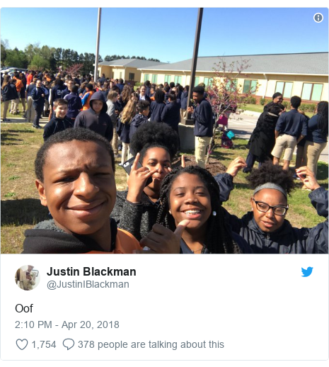 Twitter post by @JustinIBlackman: Oof