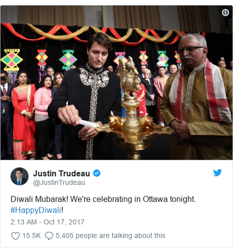 Twitter post by @JustinTrudeau: Diwali Mubarak! We're celebrating in Ottawa tonight. #HappyDiwali!