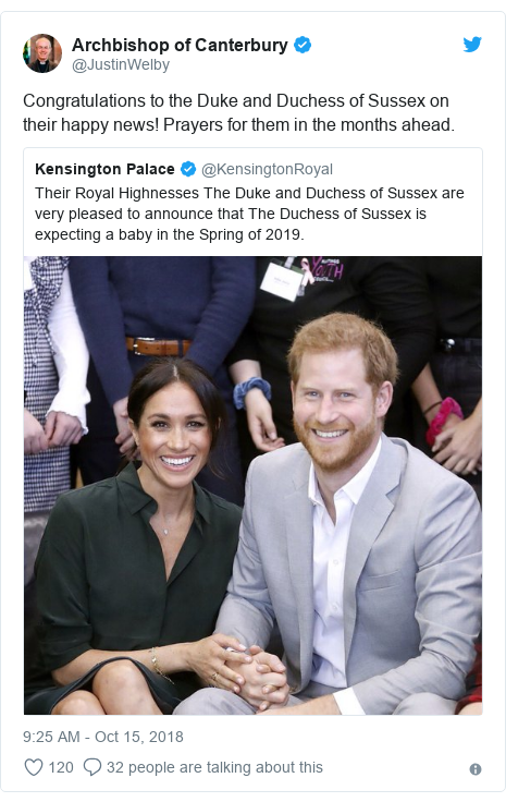 Twitter post by @JustinWelby: Congratulations to the Duke and Duchess of Sussex on their happy news! Prayers for them in the months ahead.