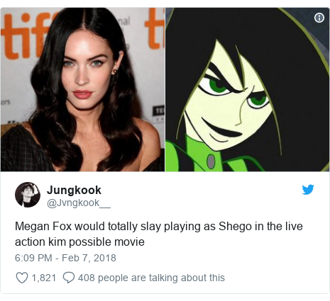 Twitter post by @Jvngkook__: Megan Fox would totally slay playing as Shego in the live action kim possible movie