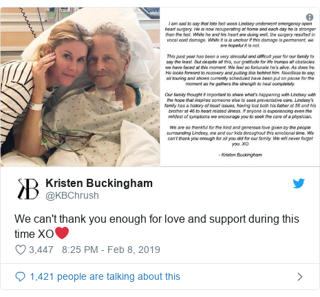 Twitter post by @KBChrush: We can't thank you enough for love and support during this time XO❤️