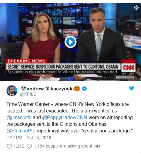 """Twitter post by @KFILE: Time Warner Center – where CNN's New York offices are located – was just evacuated. The alarm went off as  @jimsciutto and @PoppyHarlowCNN were on air reporting the packages sent to the Clintons and Obamas. @ShimonPro reporting it was over """"a suspicious package."""""""