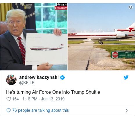 Twitter post by @KFILE: He's turning Air Force One into Trump Shuttle