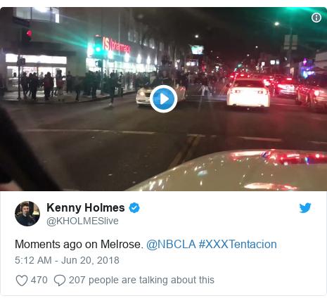 Twitter post by @KHOLMESlive: Moments ago on Melrose. @NBCLA #XXXTentacion