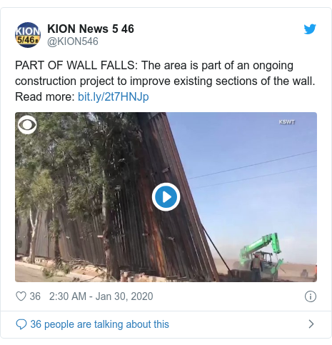Twitter post by @KION546: PART OF WALL FALLS  The area is part of an ongoing construction project to improve existing sections of the wall. Read more
