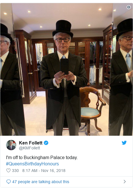 Twitter post by @KMFollett: I'm off to Buckingham Palace today. #QueensBirthdayHonours