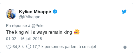 Twitter publication par @KMbappe: The king will always remain king 👑