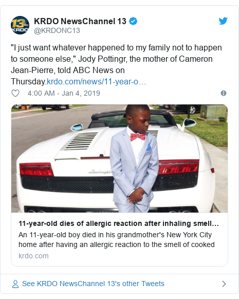 """Twitter post by @KRDONC13: """"I just want whatever happened to my family not to happen to someone else,"""" Jody Pottingr, the mother of Cameron Jean-Pierre, told ABC News on Thursday."""