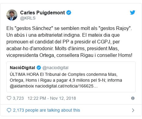 """Twitter post by @KRLS: Els """"gestos Sánchez"""" se semblen molt als """"gestos Rajoy"""". Un abús i una arbitrarietat indigna. El mateix dia que promouen el candidat del PP a presidir el CGPJ, per acabar-ho d'arrodonir. Molts d'ànims, president Mas, vicepresidenta Ortega, consellera Rigau i conseller Homs!"""