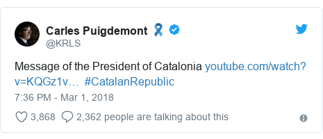 Twitter post by @KRLS: Message of the President of Catalonia   #CatalanRepublic