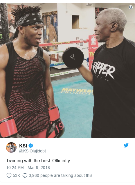 Twitter post by @KSIOlajidebt: Training with the best. Officially.
