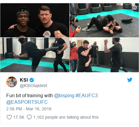 Twitter post by @KSIOlajidebt: Fun bit of training with @bisping #EAUFC3 @EASPORTSUFC