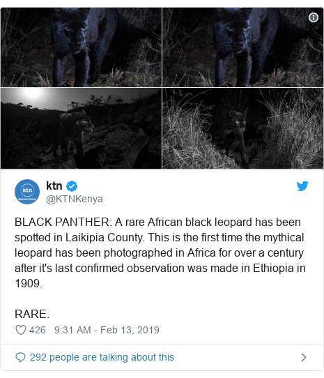 Ujumbe wa Twitter wa @KTNKenya: BLACK PANTHER  A rare African black leopard has been spotted in Laikipia County. This is the first time the mythical leopard has been photographed in Africa for over a century after it's last confirmed observation was made in Ethiopia in 1909. RARE.