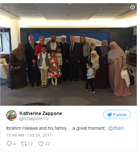 Twitter post by @KZapponeTD: Ibrahim Halawa and his family ....a great moment...@dfatirl