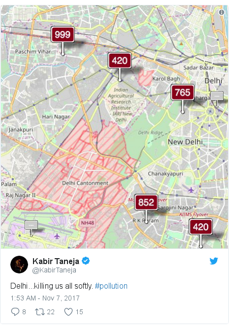 Twitter post by @KabirTaneja: Delhi...killing us all softly. #pollution