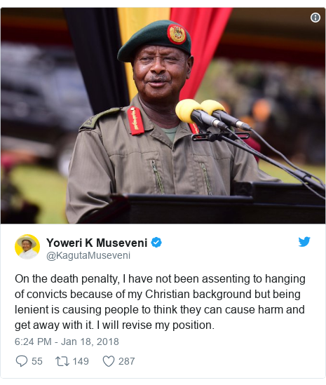 Ujumbe wa Twitter wa @KagutaMuseveni: On the death penalty, I have not been assenting to hanging of convicts because of my Christian background but being lenient is causing people to think they can cause harm and get away with it. I will revise my position.