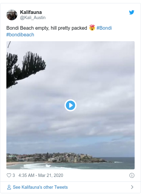 Twitter post by @Kali_Austin: Bondi Beach empty, hill pretty packed 🤯 #Bondi #bondibeach