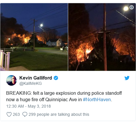 Twitter post by @KallMeKG: BREAKING  felt a large explosion during police standoff now a huge fire off Quinnipiac Ave in #NorthHaven.