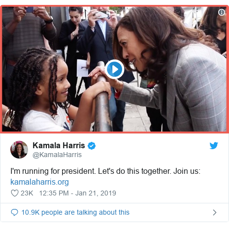 Twitter post by @KamalaHarris: I'm running for president. Let's do this together. Join us