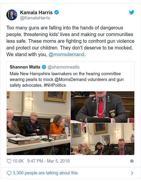 Twitter post by @KamalaHarris: Too many guns are falling into the hands of dangerous people, threatening kids' lives and making our communities less safe. These moms are fighting to confront gun violence and protect our children. They don't deserve to be mocked. We stand with you, @momsdemand.
