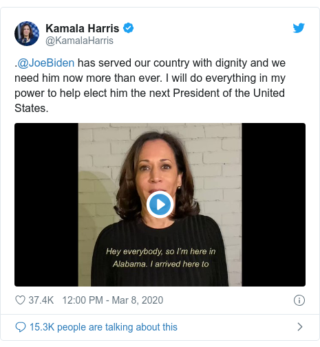 Twitter post by @KamalaHarris: .@JoeBiden has served our country with dignity and we need him now more than ever. I will do everything in my power to help elect him the next President of the United States.