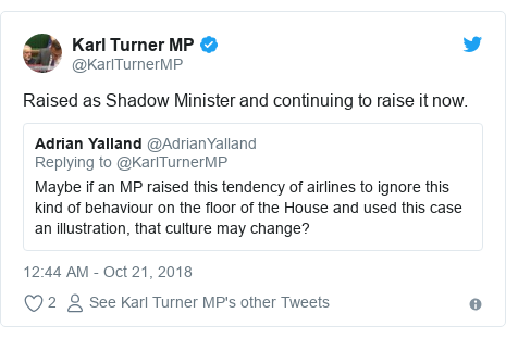 Twitter post by @KarlTurnerMP: Raised as Shadow Minister and continuing to raise it now.