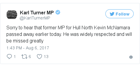 Twitter post by @KarlTurnerMP