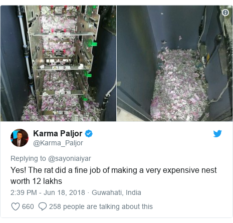 Twitter post by @Karma_Paljor: Yes! The rat did a fine job of making a very expensive nest worth 12 lakhs