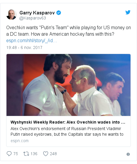 """Publicación de Twitter por @Kasparov63: Ovechkin wants """"Putin's Team"""" while playing for US money on a DC team. How are American hockey fans with this?"""