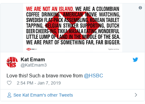 Twitter post by @KatEmam3: Love this! Such a brave move from @HSBC