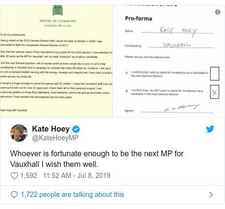 Twitter post by @KateHoeyMP: Whoever is fortunate enough to be the next MP for Vauxhall I wish them well.