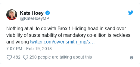 Twitter post by @KateHoeyMP: Nothing at all to do with Brexit. Hiding head in sand over viability of sustainability of mandatory co-alition is reckless and wrong