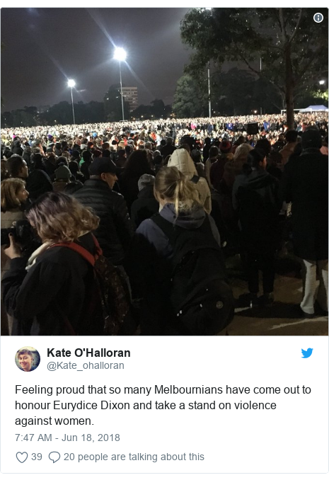 Twitter post by @Kate_ohalloran: Feeling proud that so many Melbournians have come out to honour Eurydice Dixon and take a stand on violence against women.