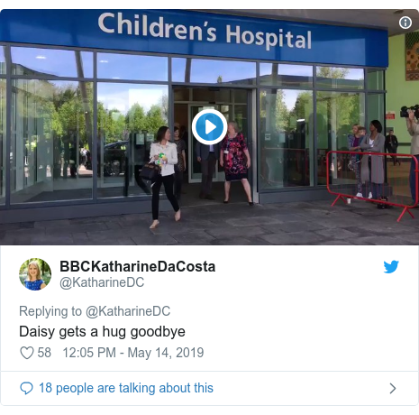 Twitter post by @KatharineDC: Daisy gets a hug goodbye