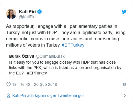 @KatiPiri tarafından yapılan Twitter paylaşımı: As rapporteur, I engage with all parliamentary parties in Turkey, not just with HDP. They are a legitimate party, using democratic means to raise their voices and representing millions of voters in Turkey. #EPTurkey