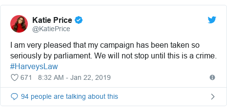 Twitter post by @KatiePrice: I am very pleased that my campaign has been taken so seriously by parliament. We will not stop until this is a crime. #HarveysLaw