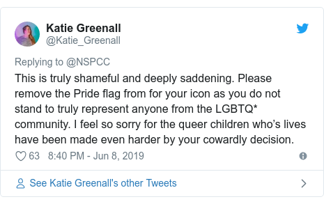 Twitter post by @Katie_Greenall: This is truly shameful and deeply saddening. Please remove the Pride flag from for your icon as you do not stand to truly represent anyone from the LGBTQ* community. I feel so sorry for the queer children who's lives have been made even harder by your cowardly decision.