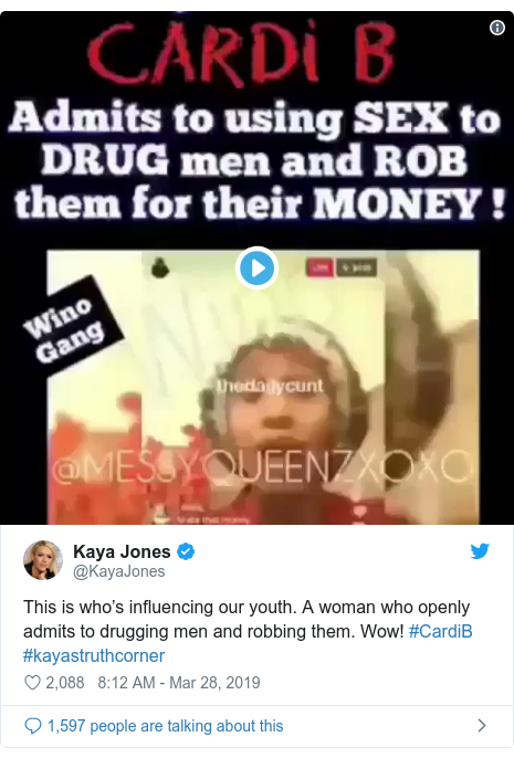 Twitter post by @KayaJones: This is who's influencing our youth. A woman who openly admits to drugging men and robbing them. Wow! #CardiB #kayastruthcorner