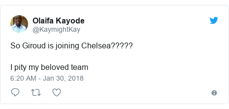 Twitter post by @KaymightKay: So Giroud is joining Chelsea????? I pity my beloved team