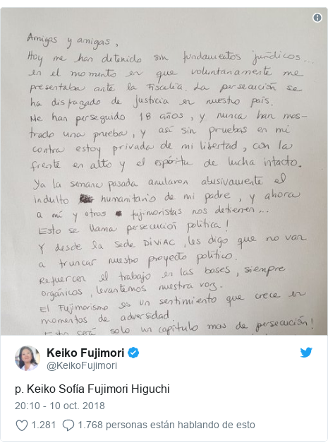 Publicación de Twitter por @KeikoFujimori: p. Keiko Sofía Fujimori Higuchi