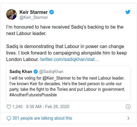 Twitter post by @Keir_Starmer: I'm honoured to have received Sadiq's backing to be the next Labour leader. Sadiq is demonstrating that Labour in power can change lives. I look forward to campaigning alongside him to keep London Labour.