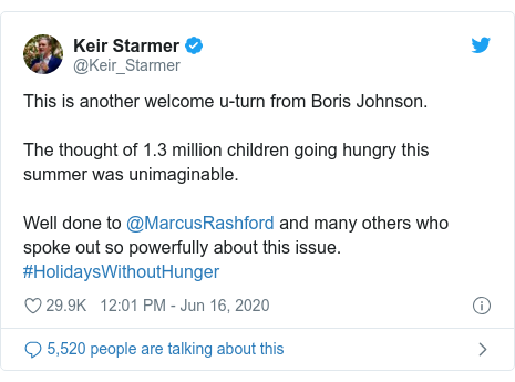 Twitter post by @Keir_Starmer: This is another welcome u-turn from Boris Johnson.The thought of 1.3 million children going hungry this summer was unimaginable.Well done to @MarcusRashford and many others who spoke out so powerfully about this issue. #HolidaysWithoutHunger